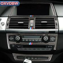 Углеродного волокна салона навигации Управление Панель кондиционер декоративная рамка выпускного отверстия для BMW e70 e71 X5 X6 аксессуары