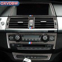 Углеродного волокна салона навигации Управление Панель Кондиционер Выход декоративная рамка для BMW e70 e71 X5 X6 аксессуары