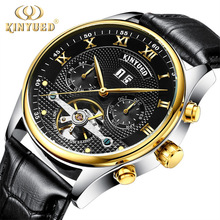 цена на KINYUED Men's Mechanical Watches Top Brand Luxury Waterproof Calendar Leather strap Skeleton Watch Mechanical Watch clock montre