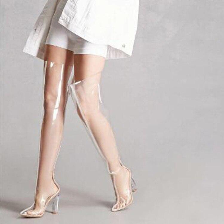 Moraima snc 2019 printemps et automne modèles d'explosion nouvelle épaisseur avec pvc transparent pointu sur les bottes longues du genou