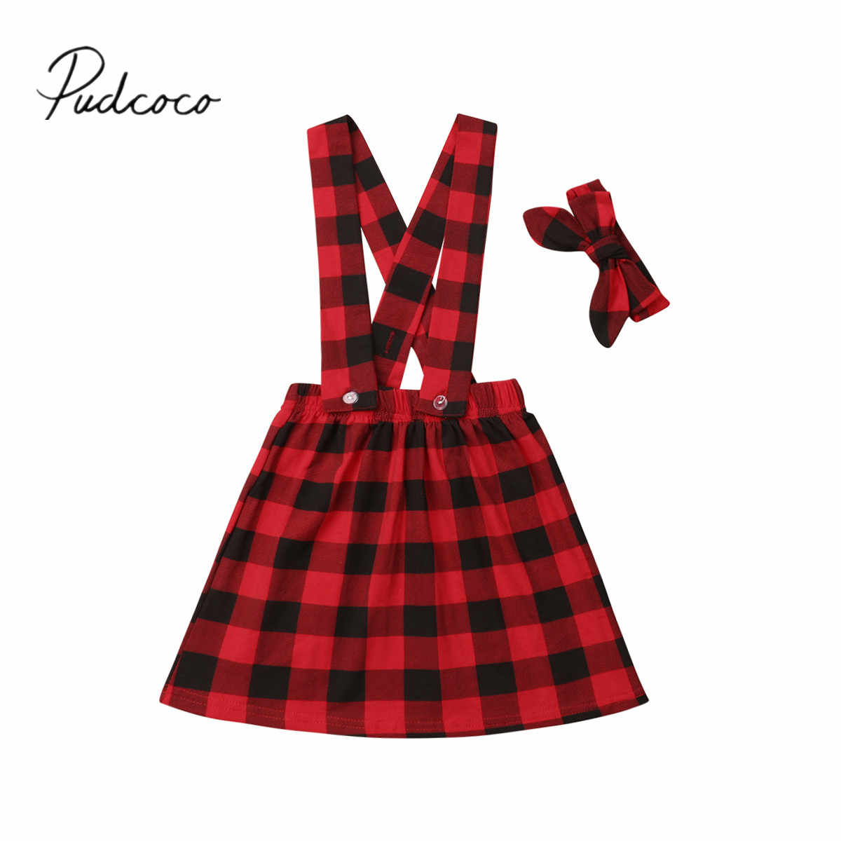 2018 Brand New 1-6Y Toddler Kids Baby Girls Bib Strap Dress+Headband 2PCS Plaid Print Cotton Santa Dress Xmas Outfit 1-6Y