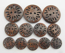 WBNKSN Sewing clothes buttons brown color 15mm/18mm/25mm DIY craft button wooden 100pcs/lot