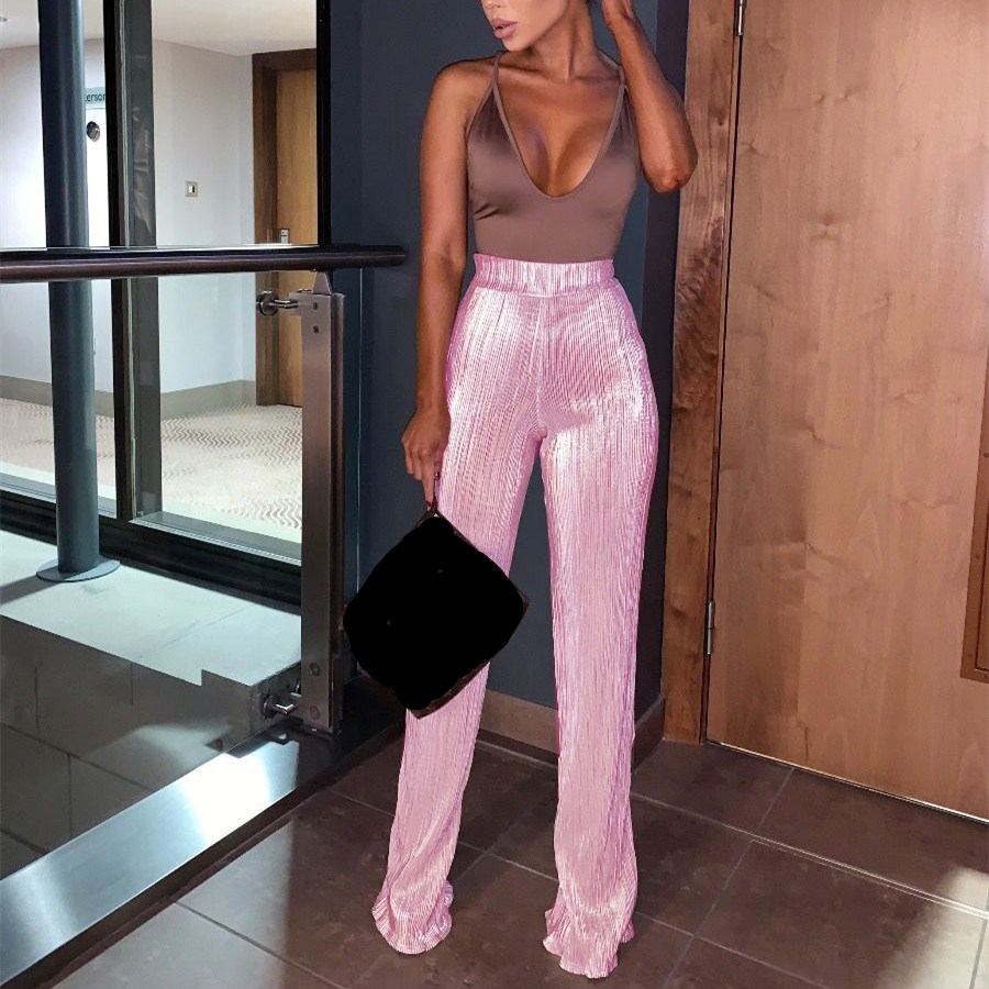 2019 New Fashion High Waist   Pants   Women Vintage Loose   Wide     Leg     Pants   Solid Pink Silver Casual Pleated Trousers