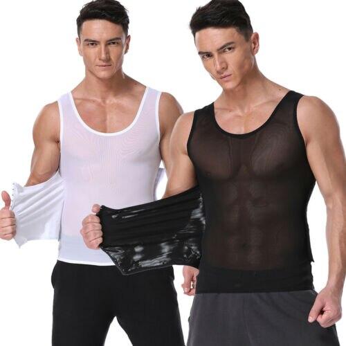 Men Abdomen Cummerbunds Belt Muscle Compression Shapewear Slimming Body Shaper Vest Shirt Tops Casual Solid 2019 New Hot