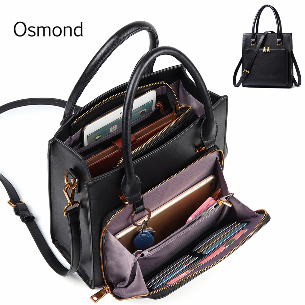 Elegant Leather Women/'s Multifunction Cross-body Bag Purse With Clasp
