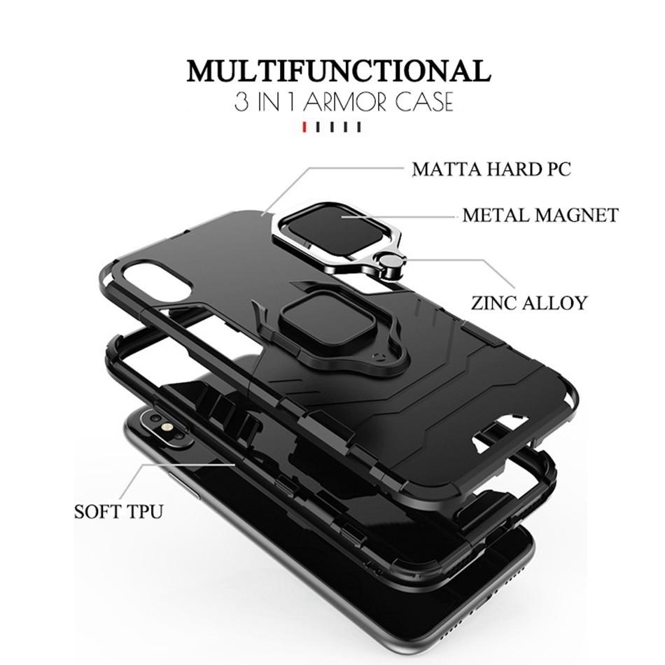 Image 5 - CASEIER Armor Shockproof Case For Xiaomi Redmi Note 7 5 8 6 Pro 4 4X 6A Finger Ring Holder Case For Xiaomi A2 MAX 3 8 9 SE Case