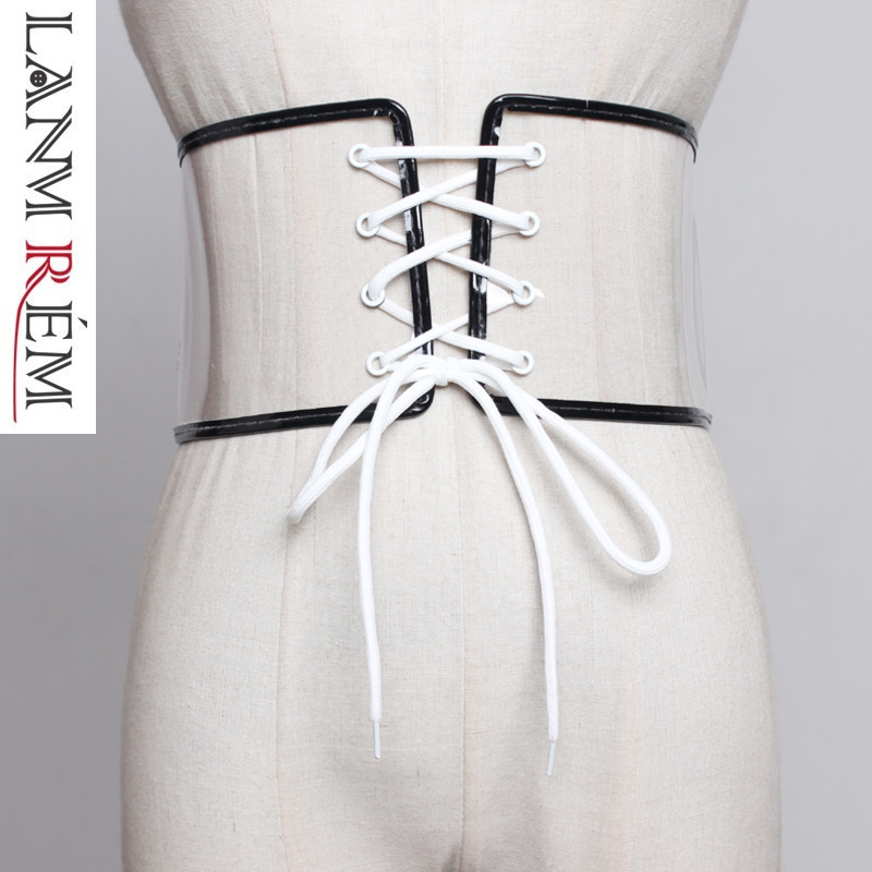 LANMREM 2019 Fashion New Transparent Laser Girdle Trend Clothing Accessories Wide Belt Female Korean Style Cummerbunds YH496