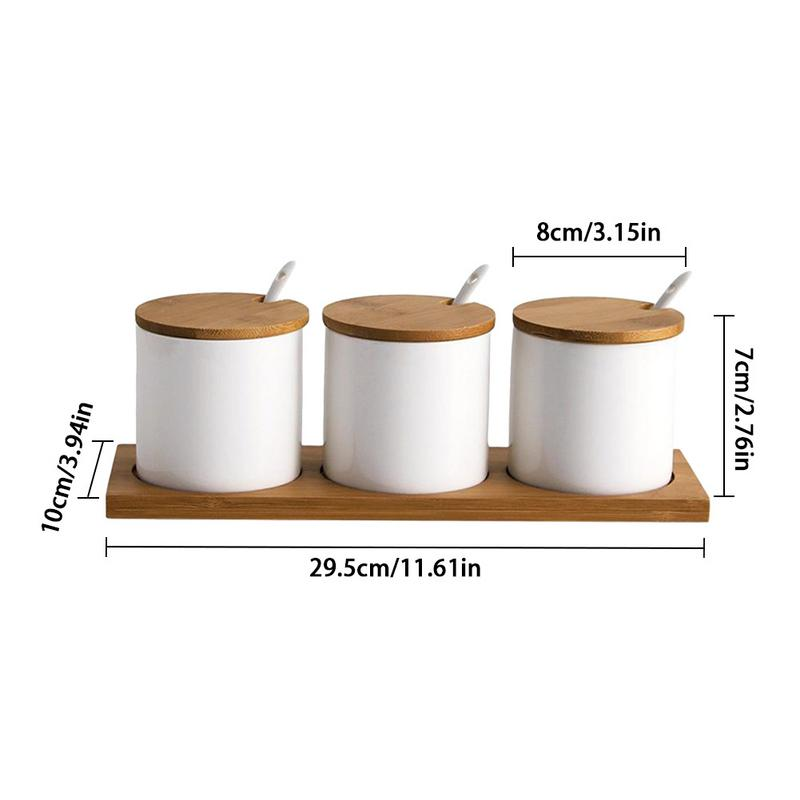 Ceramic Square Tank Sugar Bowl With Sugar Spoon And Bamboo Lid Easy To Clean