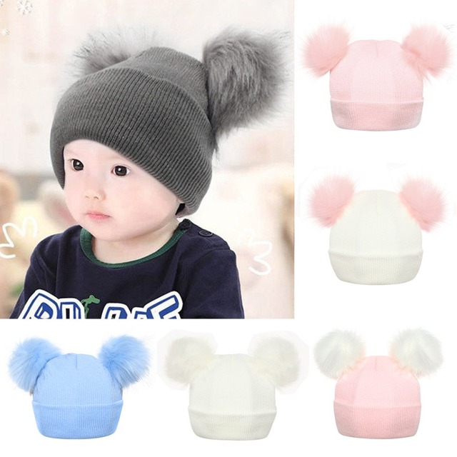 b1cc85ff35a33 Winter Warm Faux Raccoon Fur Pompom Hat Baby Cute Double Fur Pom Pom  Beanies Baby Boys