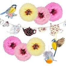Spring Tea Party Decoration Supplies Background Pot Cup Banner Vivid 3D Bird Birthday Afternoon Home Garden Decor