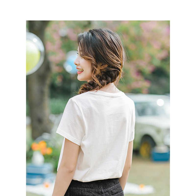 אינמן 2019 קיץ O-צוואר קוריאני אופנה מקרית אופנה סגנון Slim קצר שרוולים נשים כותנה חולצת טי למעלה Femme חולצה