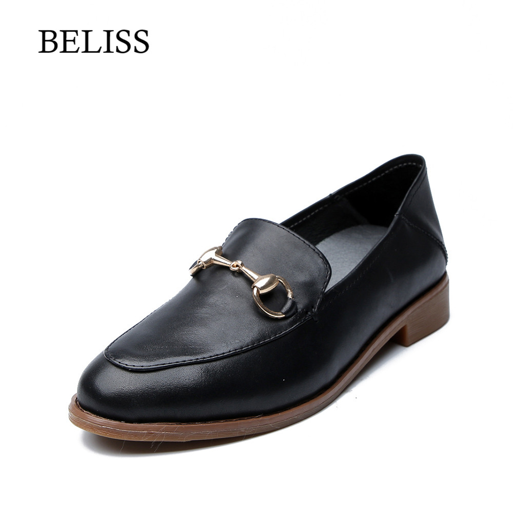 BELISS New Spring Autumn Women Flats Shoes Platform Soft Leather Casual Female Pointed Toe Ladies Loafers  P25