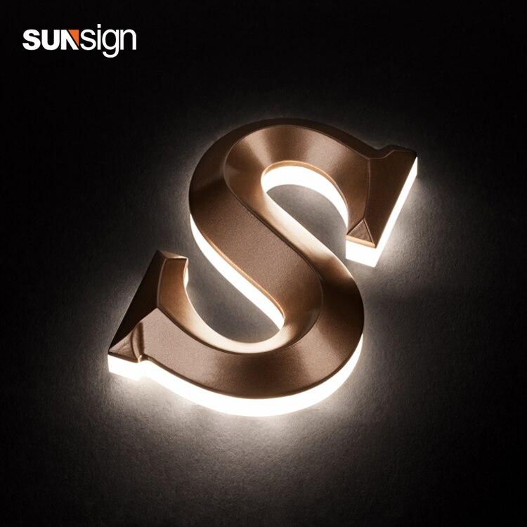 3D Rose Golden Stainless Steel Back Light Acryilc Custom Signage