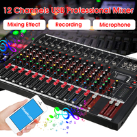 Karaoke Audio Mixer with USB Professional 12 Channel bluetooth Studio DJ Mixing Console Amplifier Digital KTV Sound Mixer 48V