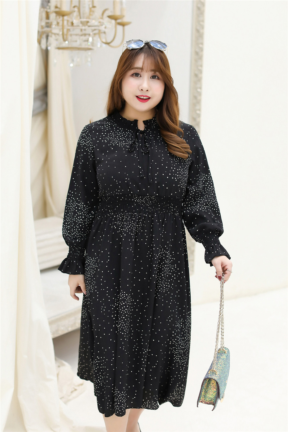 MINSUNDA Plus Size Ruffle Trim Tie Neck Polka Dot Dress Casual Women Elastic Waist Long Sleeve Dress Ladies A Line Summer Dress