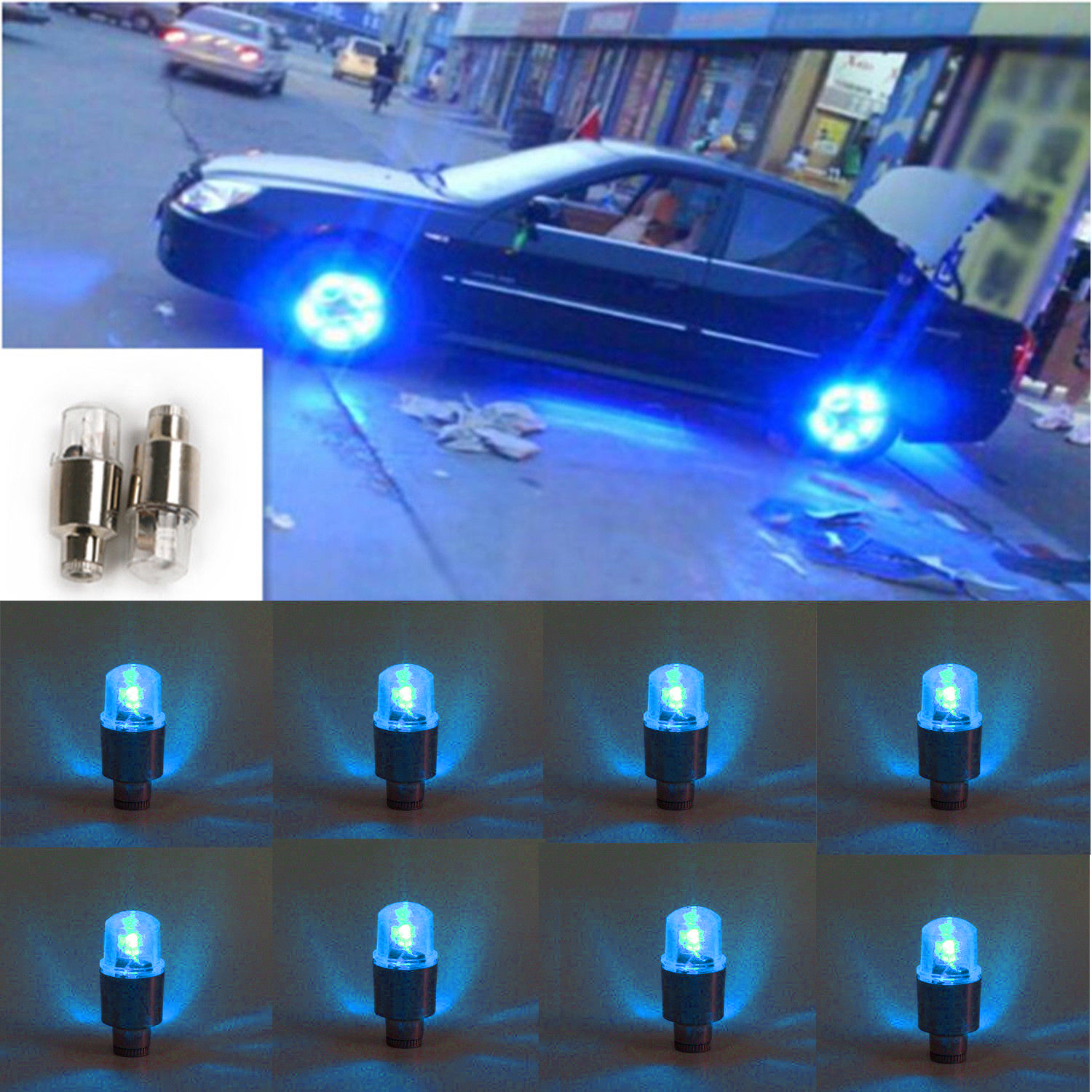 8pcs Blue LED Auto Car Wheel Tyre Tire Valve Stem Cap Light Lamp Bulb Decoration