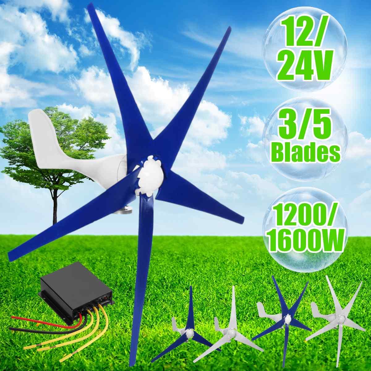 1200/1600 W vent pour Turbine Generator3/5 pales de vent Option contrôleur de vent cadeau adapté pour la maison ou le Camping + accessoires de montage - 2