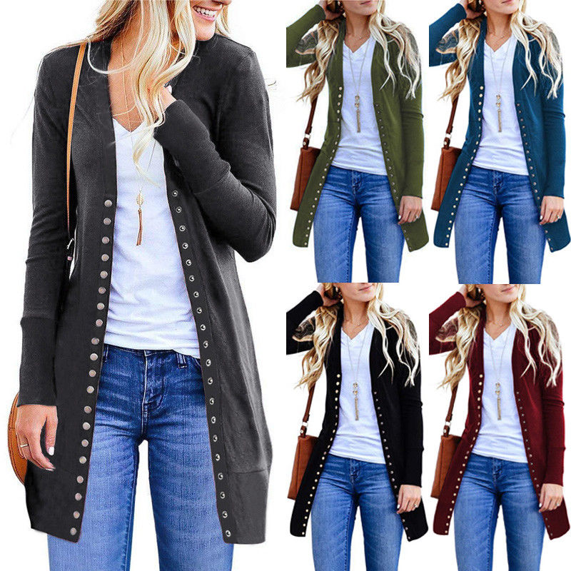 2019 New Women Spring Autumn Button Knitted Cardigan Ladies Casual Long Sleeves Outwear Overcoat