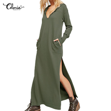 e9f56817dd Celmia Hooded Dress for Female 2018 Autumn Solid Spilt Dress With Pockets Women  Hoodie Sweatshirt Dresses
