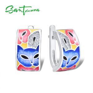 Image 3 - SANTUZZA Đồ Trang Sức Set Đối Với Phụ Nữ 925 Sterling Silver HANDMADE Đầy Màu Sắc Men Dễ Thương Fox Trắng CZ Vòng Earrings Set Đồ Trang Sức Thời Trang