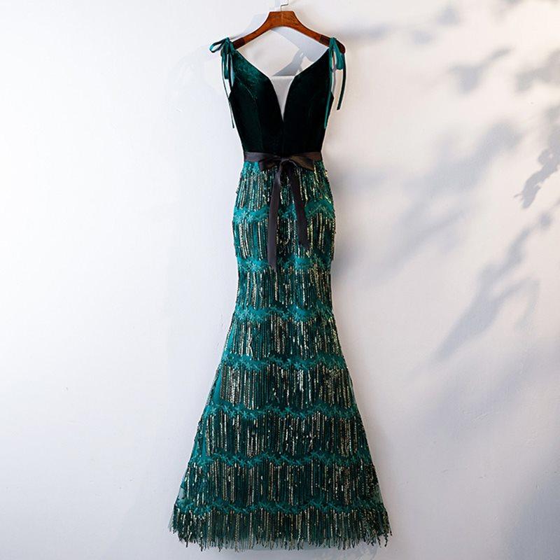 Dressv green v neck elegant sleeveless   evening     dress   mermaid zipper up floor length wedding party formal   evening     dresses