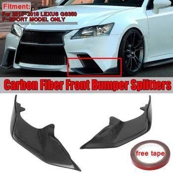 1Pair Real Carbon Fiber Car Front Bumper Lip Spoiler Splitters Diffuser For Lexus Gs350 F-Sport Model 2013-2015 Bumper Apron Lip