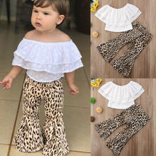 2018 New Style Baby Girl White Hollow Lace Top T-shirt Wide Leg Flared Bell Bottom Leopard Pants Children Casual Outfits Set