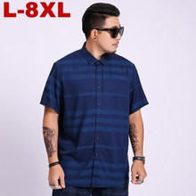 2019 Summer New Mens Shirt plus Size Male Fashion Casual Striped Short Sleeve Brand Clothing 5xl 6xl 7xl 8xl