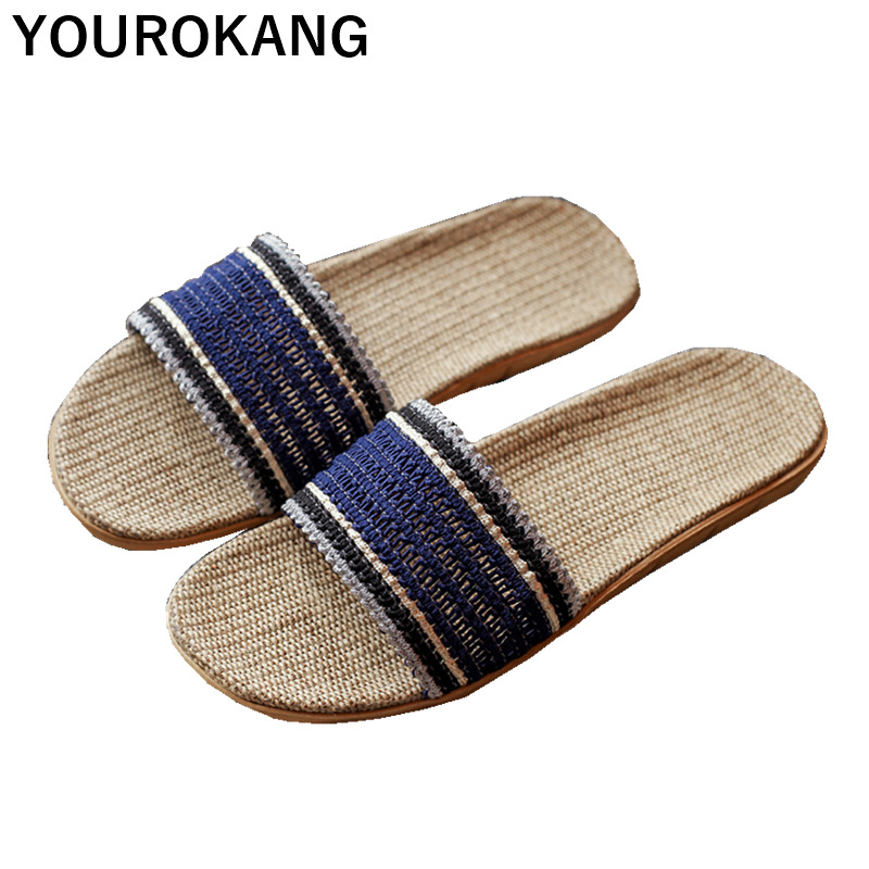 Summer Women Home Slippers 2019 Couple Shoes Footwear Unisex Flax Slipper For Lovers Indoor Lightweight Linen Slides New Arrival