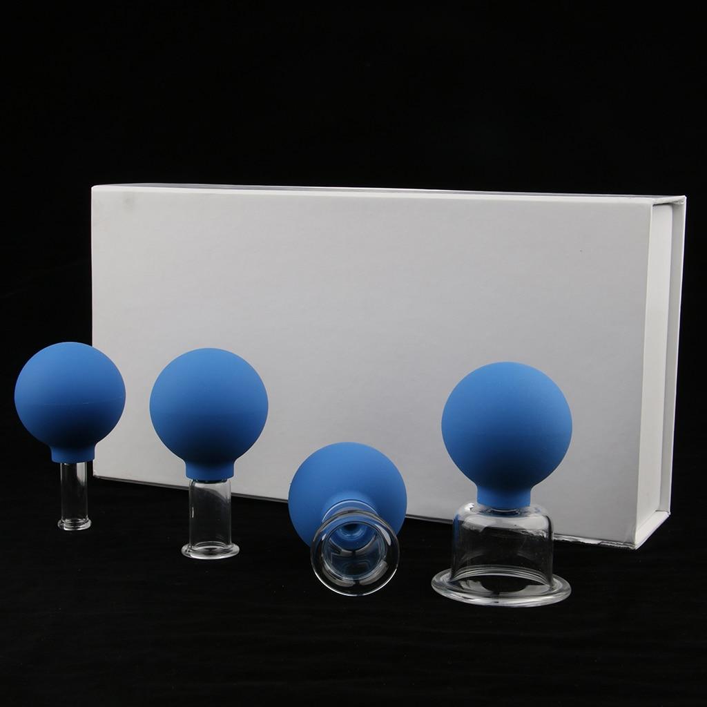 4 peças de vidro silicone anti celulite massagem vácuo cupping copos conjunto kitMassagem e relaxamento   -