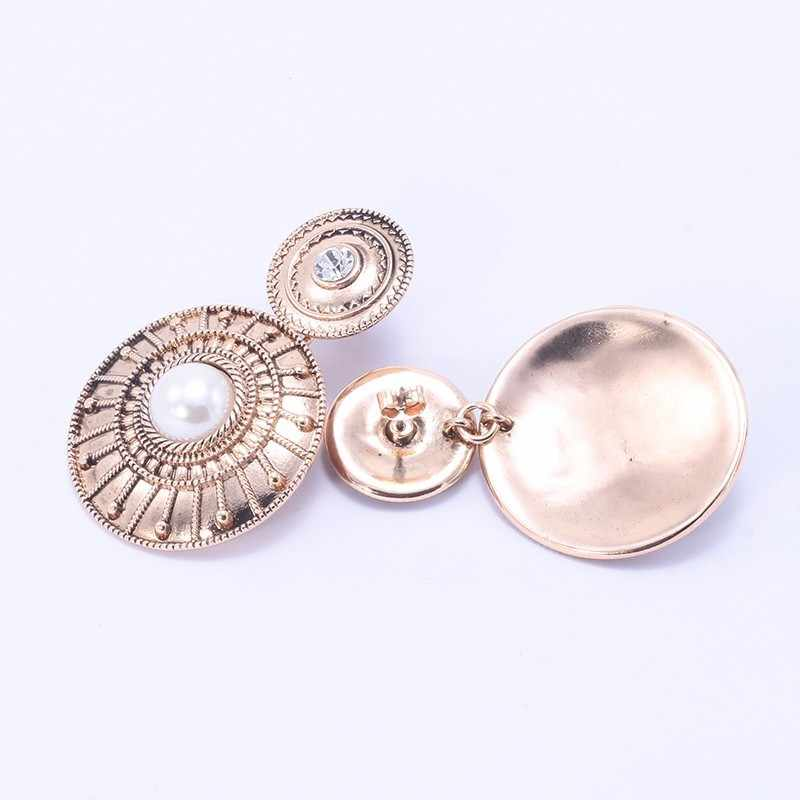 WEALTHYBOO NEW ZA Elegant Metal Big Pendant Earrings Pearl Decoration Round Pendant Earrings Vintage Jewelry Party Earrings