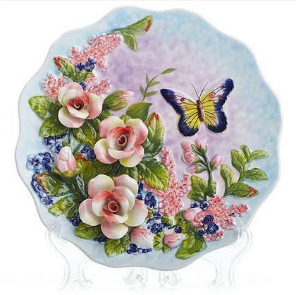 ローズ蝶装飾的な壁食器磁器装飾プレート装飾工芸品ルームの装飾置物  グループ上の ホーム&ガーデン からの ボウル & プレート の中 1