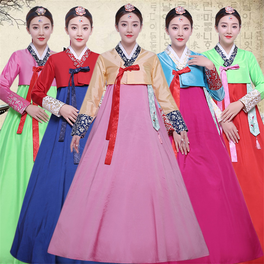 16Color Women Korean Hanbok Dress Traditional Asian Nationality Palace Korea Fashion Style Adult Dance Performance Clothing