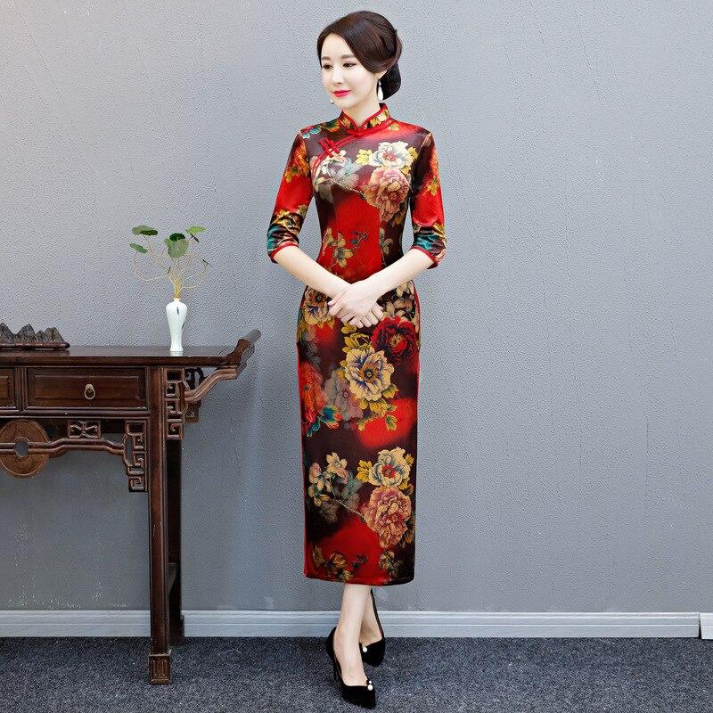 Традиционное вечернее платье Ципао больших размеров, красное женское китайское платье Ципао, зимние велюровые длинные бархатные халаты, ко