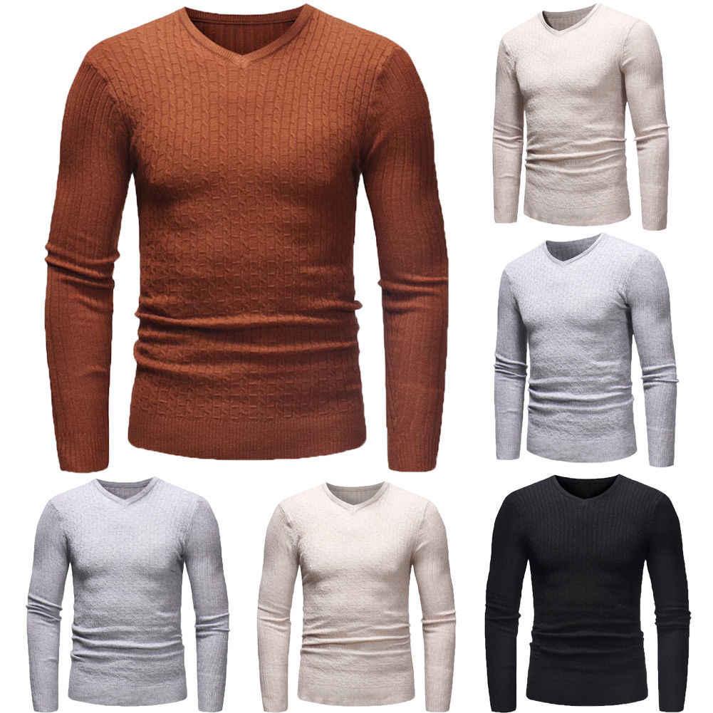 2019 뉴 가을 겨울 남성 v 넥 솔리드 컬러 캐주얼 블랙 웜 스웨터 남성 슬림 피트 브랜드 니트 풀오버 플러스 사이즈 3xl