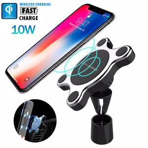 Image 1 - Group Vertical Vertical Universal Fast Wireless Car Charger Magnetic Charging Pad Holder For Samsung iPhone XS Smart Phones R20