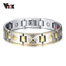 f41572cdbddf Vnox hombres Bio elementos energía magnética pulsera elegante de curación de  acero inoxidable Golf pulseras joyería sana Drop-en.