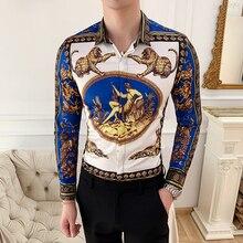 Moda clube roupas de designer dos homens camisas flor floral camisa masculina social fino ajuste masculino manga longa camisa coreana 6xl