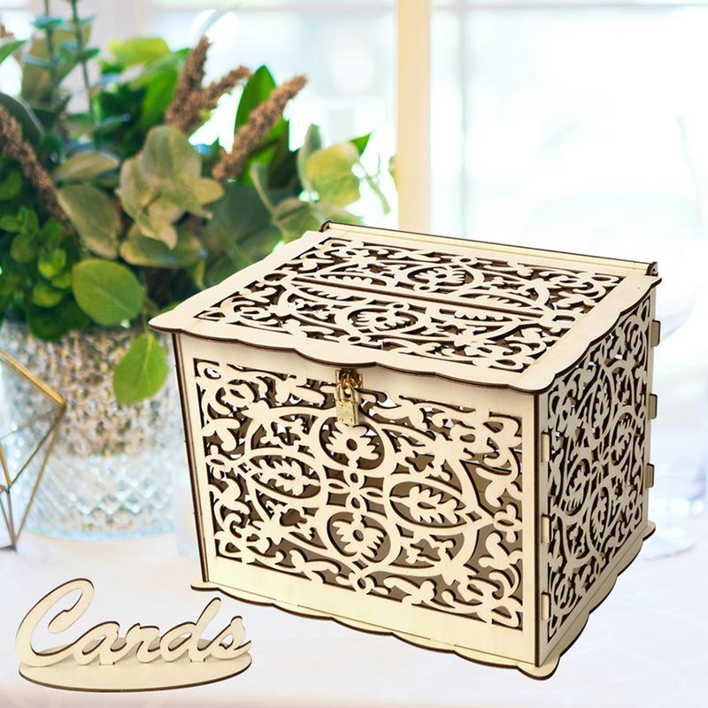 Us 18 19 35 Off Wooden Wedding Supplies Diy Business Card Box Decorations Vintage Card Box With Lock Diy Money Box Gift Boxes For Birthday Party In