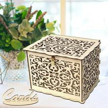 Wooden Wedding Supplies DIY Business Card Box Decorations Vintage With Lock Money Gift Boxes For Birthday Party