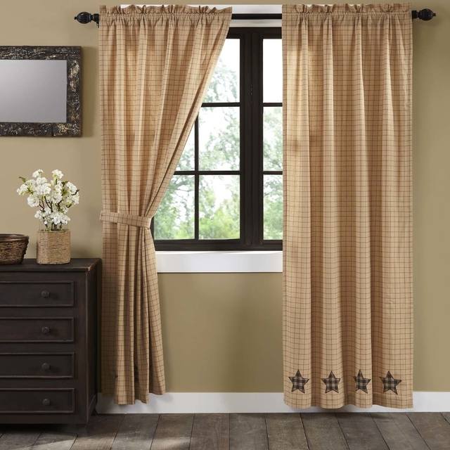 Classic Country Window Bingham Applique Star Black