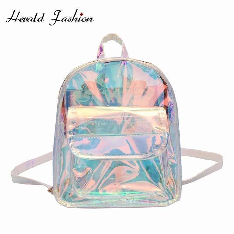 314288ac21da Herald модные женские туфли прозрачный рюкзак качество крутые, из ПВХ Мини  Прозрачный Пакет студент Harajuku