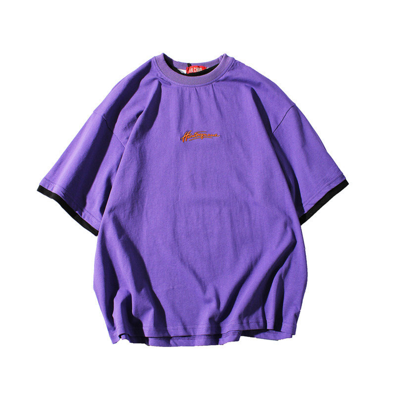 2019 Spring And Summer New Hot Korean Version Of Hip Hop Retro Couple Solid Color Short-sleeved T-shirt Harajuku Streetwear Best