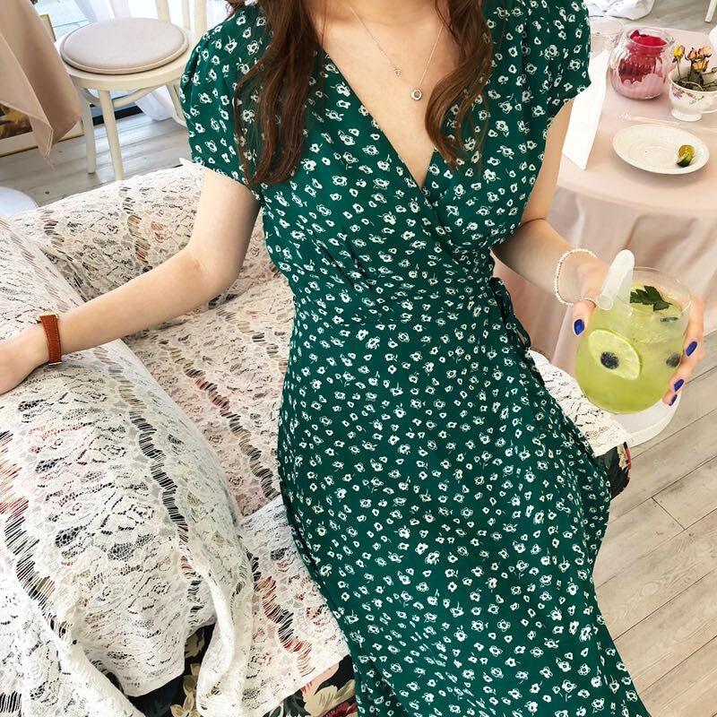 99ca4fbc3c9 Цветочный платье пляжные платья лето Винтаж Vestido Midi для женщин  корейский зеленый роковой цветок линии ropa