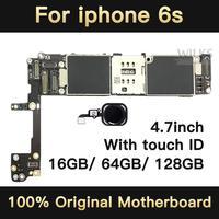 Alta qualidade Para o iphone 6 S Motherboard 4.7 polegada Mainboard Com ID de Toque Desbloqueado de Fábrica Originais Atualização IOS Suporte de Teste bom