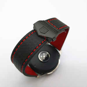 Image 1 - حزام (استيك) ساعة لسامسونج غالاكسي ووتش 46/42 مللي متر الكربون الألياف جلد طبيعي حزام ل والعتاد S3 هواوي GT ووتش 2 Amazfit 2 مربط الساعة