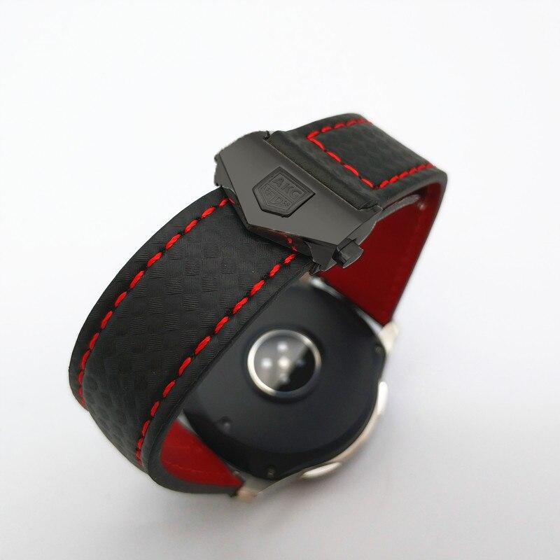 Bracelet de montre pour Samsung Galaxy montre 46/42mm en Fiber de carbone bracelet en cuir véritable pour Gear S3 Huawei GT montre 2 Amazfit 2 bracelet de montre