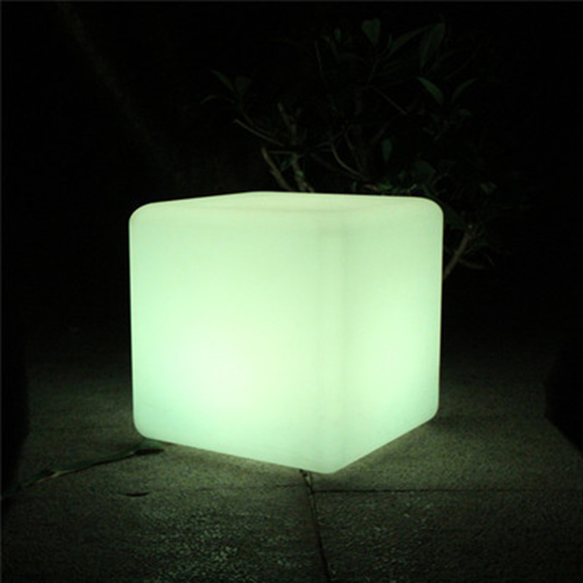 Post-modern LED Cube Chair Night Light Outdoor Party Wedding Garden Decor Lighting Furniture Bar Cube Stools Plastic Table Lamps