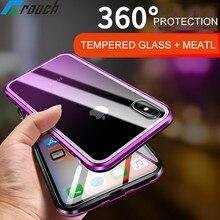 Магнитная чехол для iPhone X XR XS Max 8 плюс Металл закаленное стекло сзади магнит чехол 360 Полное покрытие для iPhone 7 Plus coque