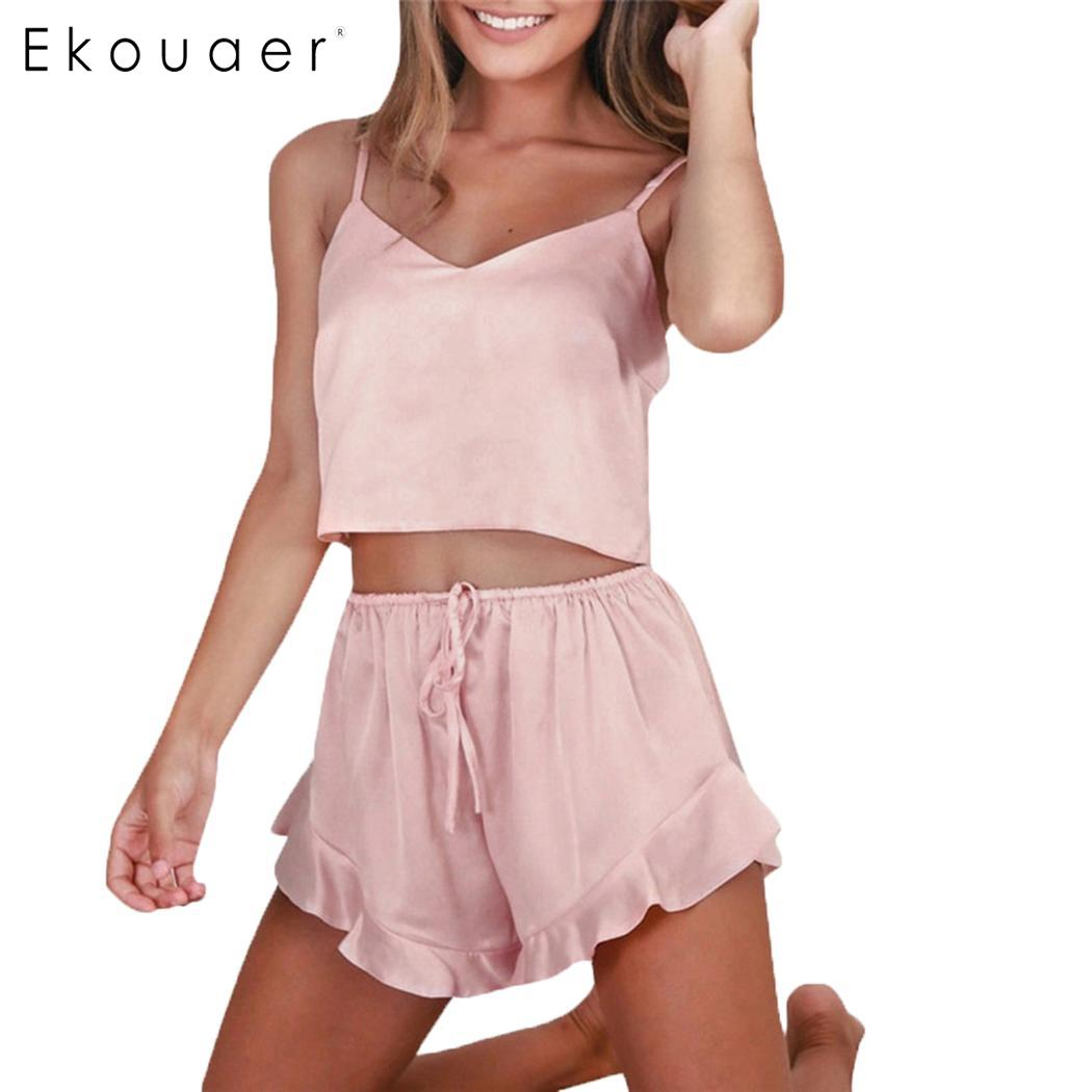 Ekouaer Summer Shorts   Pajamas     Sets   Women Sleepwear Satin   Pajama   Cami Top Shorts   Pajamas   Spaghetti Strap Sexy   Pajama     Set   Clothes